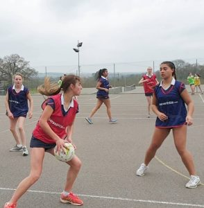 Leweston students playing netball