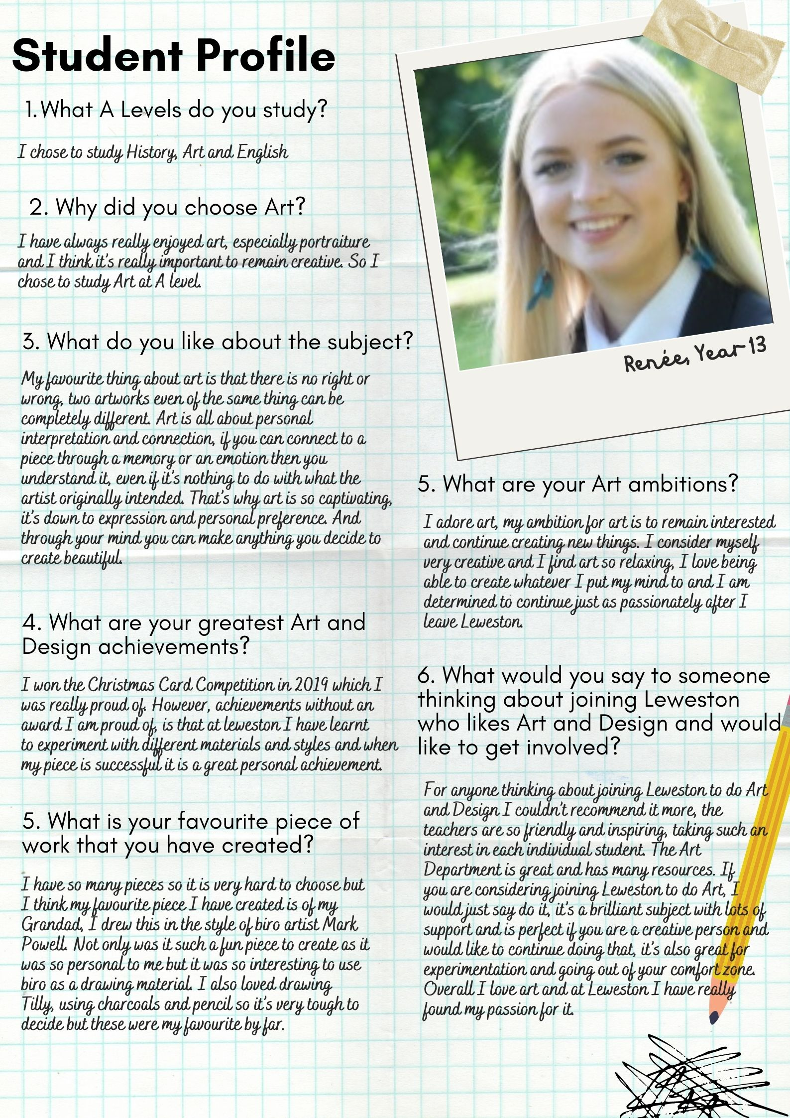 Renee Art Student Profile Leweston Sixth Form