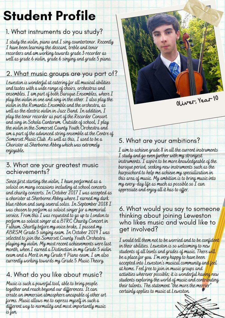 Leweston Music Student Profile